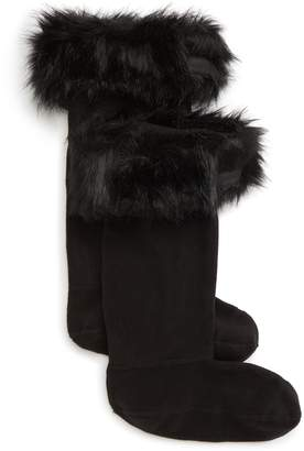 Hunter Faux Fur Cuff Tall Boot Sock