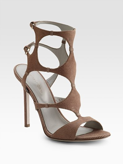 Sergio Rossi Lizard-Embossed Cutout Sandals