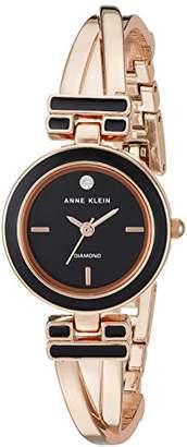 Anne Klein Women's AK/2622BKRG Diamond-Accented Black and Rose Gold-Tone Bangle Watch