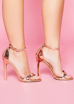 d09a4f446c5 Missy Empire Missyempire Freyja Rose Gold Suede Ankle Strap Heels