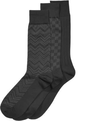Perry Ellis Men 3-Pk. Microfiber Patterned Socks