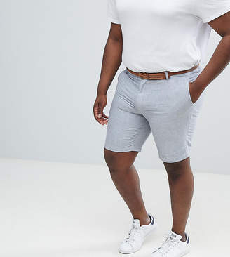 Burton Menswear Big & Tall Oxford Short with Belt In Grey