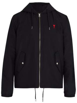 Ami Logo Embroidered Hooded Jacket - Mens - Navy