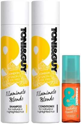 Toni & Guy Toni&Guy Illuminate Blonde Trio – Shampoo, Conditioner & Radiating Tropical Oil
