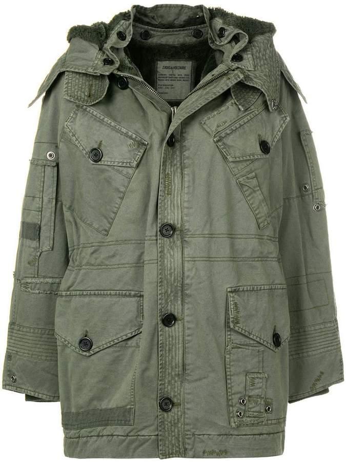 Zadig&Voltaire faded patchwork parka coat