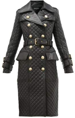 Balmain Double Breasted Quilted Leather Trench Coat - Womens - Black