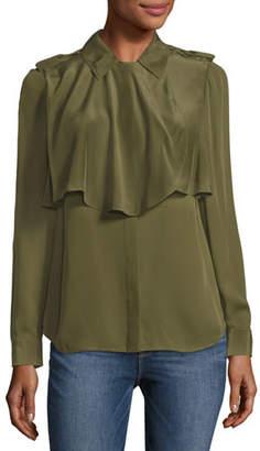 Frame Mixed Military Long Sleeve Silk Shirt, Dark Green