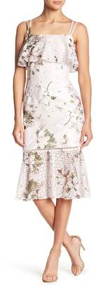 Rachel Roy Flounce Hem Printed Lace Midi Dress