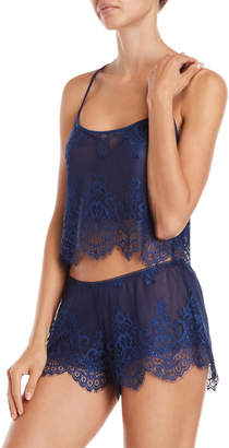 In Bloom Two-Piece Lace Cropped Cami & Shorts Set
