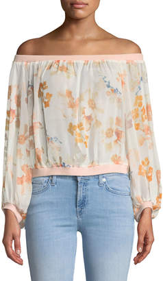 7 For All Mankind Off-the-Shoulder Silk Blouson Top
