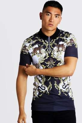 boohoo Short Sleeve Baroque & Animal Print Polo