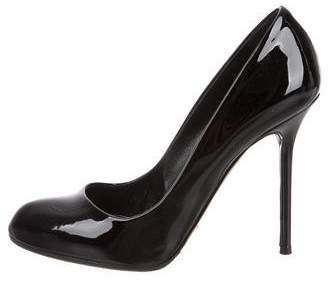 Sergio Rossi Round-Toe Patent Leather Pumps