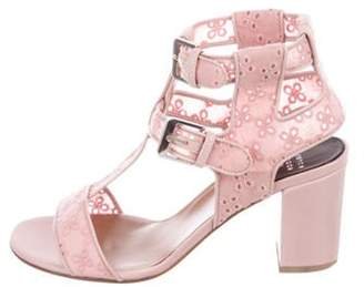 Laurence Dacade Eyelet-Trimmed Leather Sandals Pink Eyelet-Trimmed Leather Sandals
