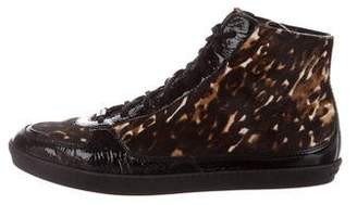 Burberry Animal Print High-Top Sneakers w/ Tags