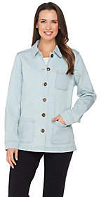 Denim & Co. Long Sleeve Button Front Jacketwith Pockets