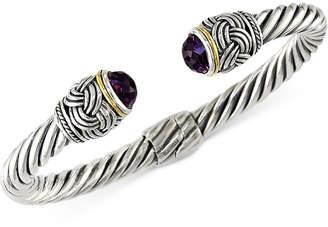 Effy Amethyst (4-9/10 ct. t.w.) Hinge Bangle Bracelet in 18k Gold and Sterling Silver
