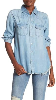 Etienne Marcel Embroidered Frayed Hem Chambray Shirt