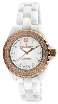 Peugeot Women's PS4892WR Swiss Ceramic Swarovski Crystal White Dial Watch