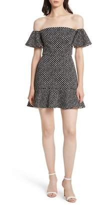 Saloni Amelia Polka Dot Print Off the Shoulder Dress