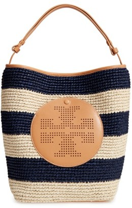 Tory Burch Perforated Logo Straw Hobo - Beige $395 thestylecure.com