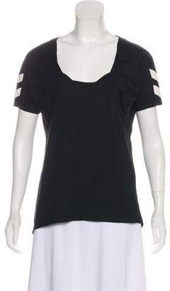 Pam & Gela Leather-Trimmed Scoop Neck Top