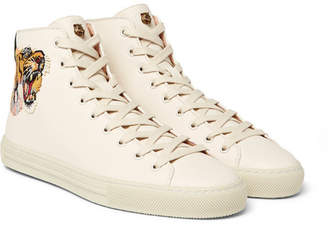 Gucci Major Appliquéd Full-Grain Leather High-Top Sneakers