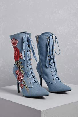 Forever 21 Embroidered Floral Boots