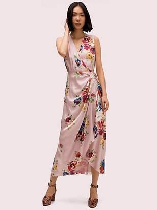 Kate Spade Rare Roses Silk Midi Dress, Light Pressed Flowers - Size 0