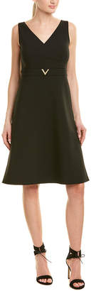 Valentino Crossover Wool-Blend A-Line Dress