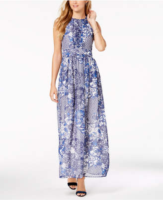 Nine West Floral Printed Keyhole Maxi Dress