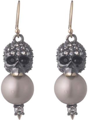 Alexis Bittar Crystal Encrusted Skull Pearl Drop Earring