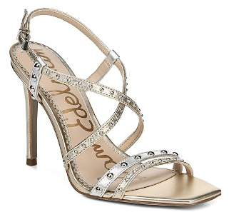 Sam Edelman Women's Lennox Studded Metallic Leather High-Heel Sandals