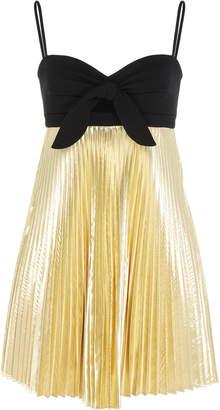 Paule Ka Metallic Pleated Toile Matelasse Dress