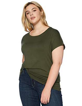 Daily Ritual Women's Plus Size Jersey Short-Sleeve Boat Neck Shirt