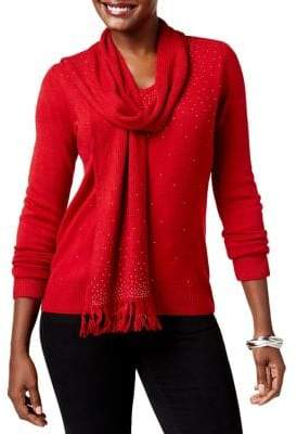 Karen Scott Studded Detachable-Scarf Sweater