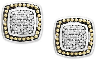 Effy Balissima by Diamond Cluster Stud Earrings (1/6 ct. t.w.) in Sterling Silver & 18k Gold