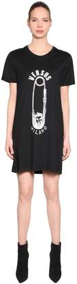Versus Safety Pin Printed Jersey T-Shirt Dress