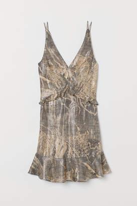 H&M Short Silk-blend Dress - Beige