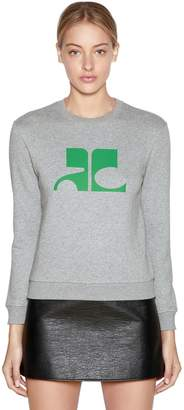 Courreges Logo Printed Cotton Sweatshirt