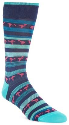 Men's Bugatchi Flamingo Stripe Crew Socks $19.95 thestylecure.com