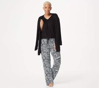 Carole Hochman Batik Floral Rayon Spandex 3 Piece Pajama Set