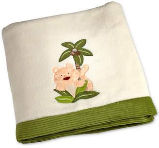 NoJo Jungle Babies Embroidered Applique Fleece Blanket Bedding