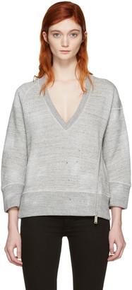 Dsquared2 Grey V-Neck Zip Sweatshirt $670 thestylecure.com