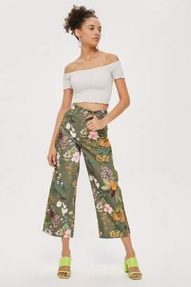 Topshop Khaki Tropical Floral Jeans
