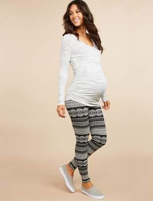 Motherhood Maternity Fair Isle Over The Belly Fleece Maternity Leggings
