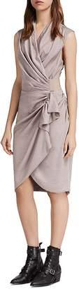 AllSaints Cancity Ruched Wrap Dress