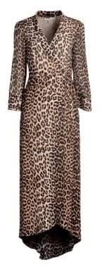 Ganni Mullin Leopard Georgette Wrap Dress
