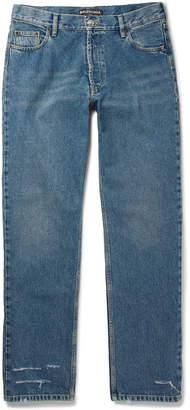 Balenciaga Distressed Stonewashed-Denim Jeans