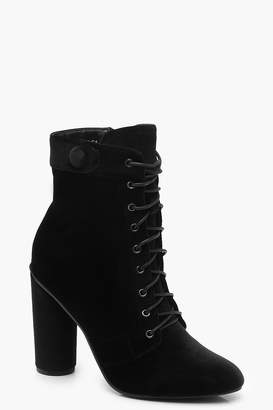 boohoo Velvet Lace Up Shoe Boots