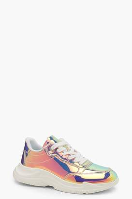 boohoo Chunky Holographic Sneakers